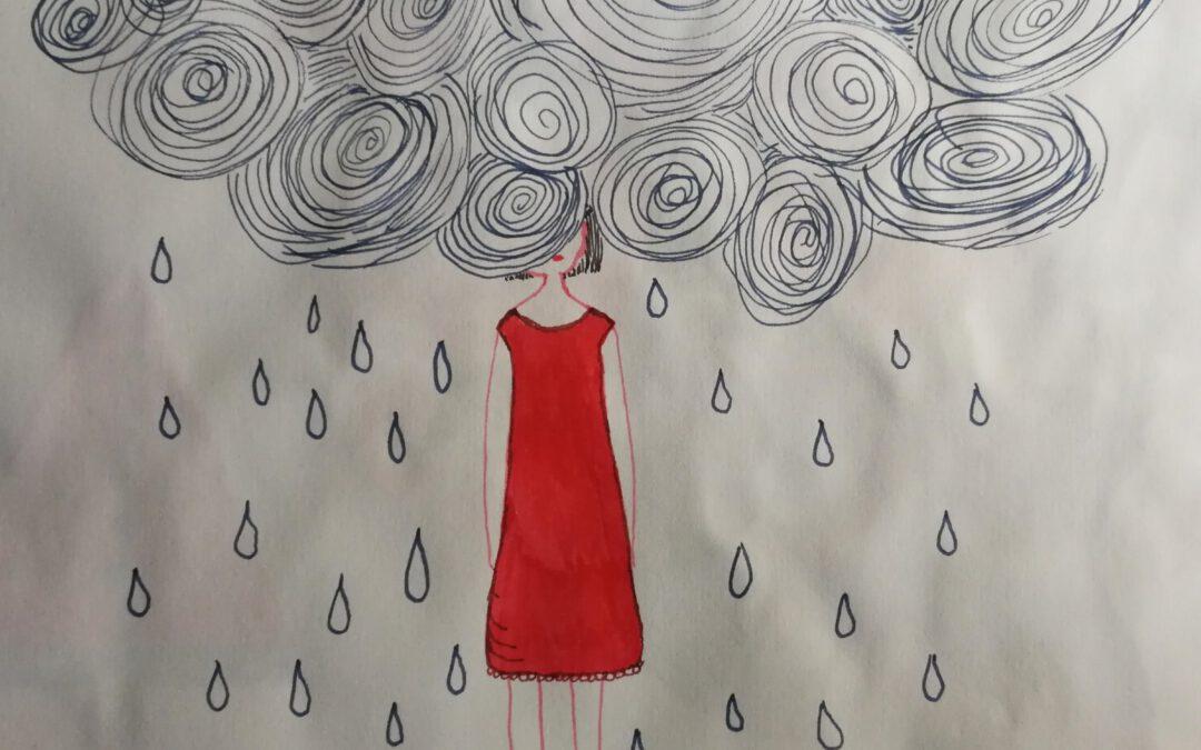 Zeichnung Kopf steckt in der Regenwolke