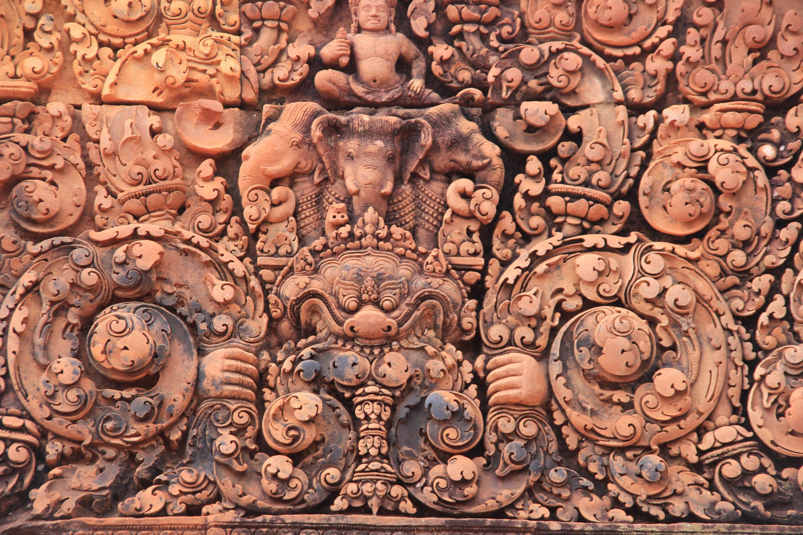 Banteay Srei Tempel in Kambodscha, schöne Ornamente