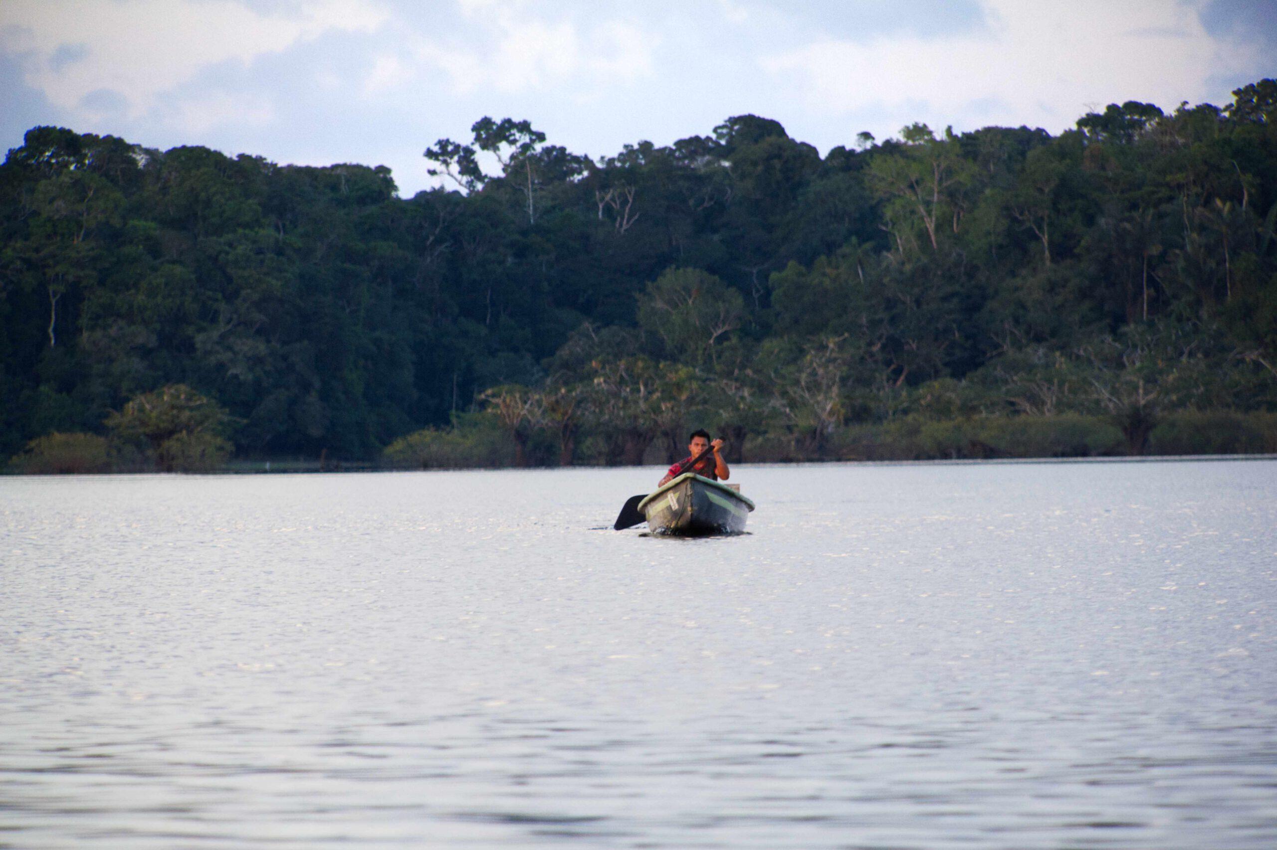Boot auf Lagune in Cuyabeno Ecuador