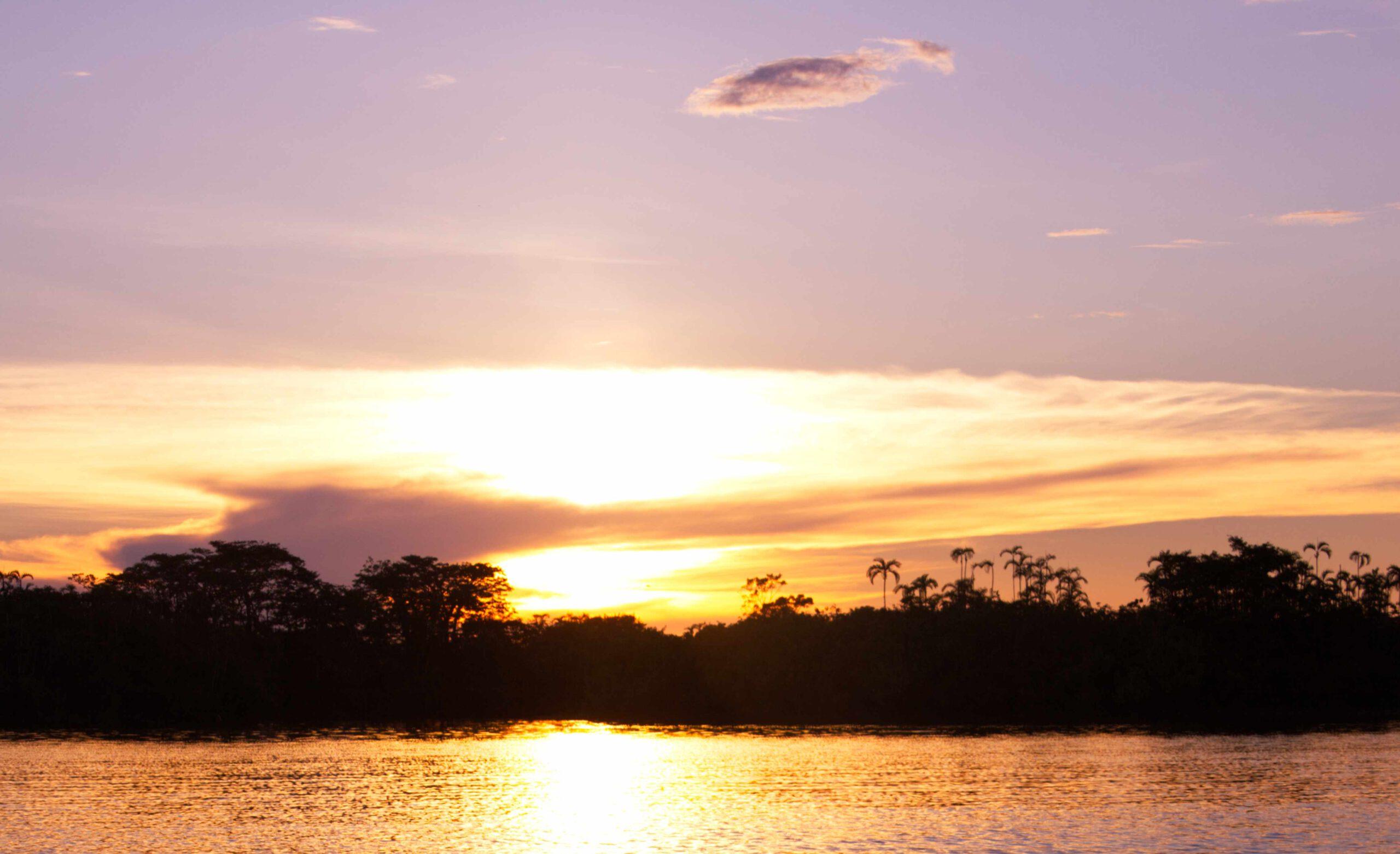 Sonnenuntergang über der Lagune, Cuyabeno Ecuador